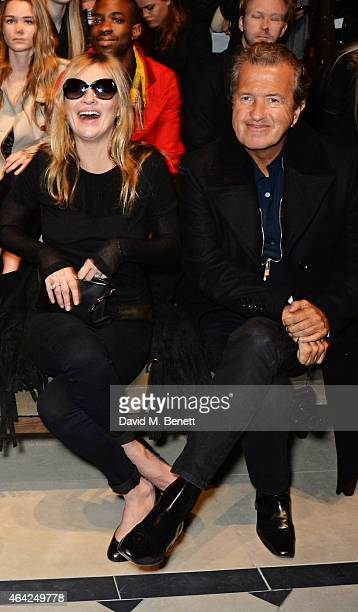 Kate Moss and Mario Testino attends the Burberry Prorsum AW 2015 show during London Fashion Week at Kensington Gardens on February 23, 2015 in...