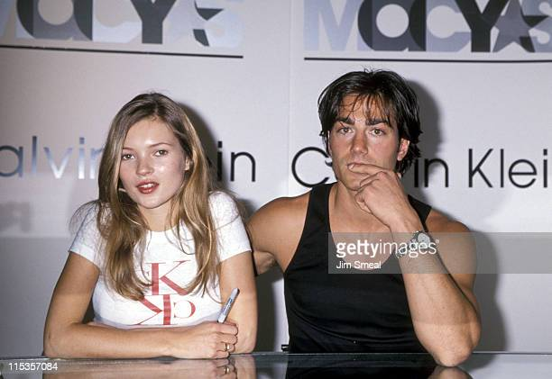 Kate Moss and Michael Bergin during Supermodel Appearence in Calvin Klein Shop at Macy's Department Store in New York City California United States