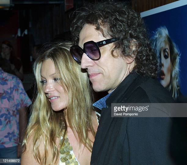 """Kate Moss and Mick Rock during """"Picture This: Debbie Harry and Blondie"""" by Mick Rock Book Launch Party - Arrivals at Hiro Ballroom in The Maritime..."""