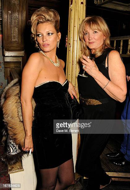 Kate Moss and mother Linda Moss attend Fran Cutler's surprise birthday party supported by ABSOLUT Elyx at The Box Soho on April 30 2013 in London...