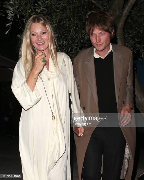Kate Moss and Nikolai von Bismarck seen celebrating designer Kim Jones birthday party at Laylow on September 11, 2020 in London, England.