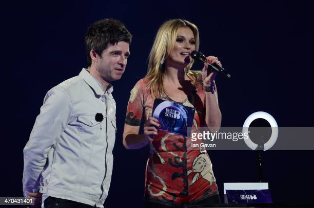 Kate Moss and Noel Gallagher onstage at The BRIT Awards 2014 at 02 Arena on February 19 2014 in London England
