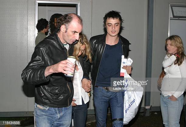 Kate Moss and Pete Doherty during Pete Doherty and Kate Moss Backstage At The 02 Wireless Festival June 30 2005 at Hyde Park in London Great Britain