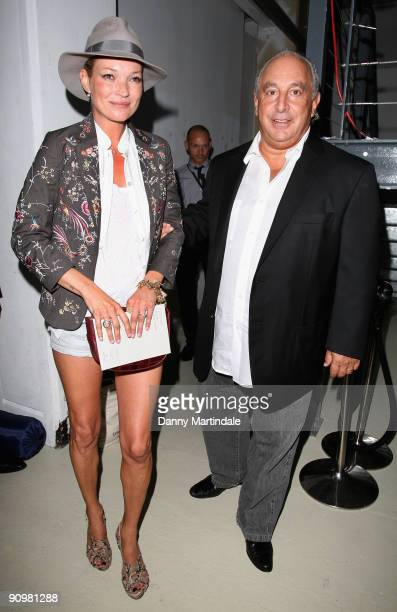 Kate Moss and Philip Green attend the Topshop Unique show at London Fashion Week Spring/Summer 2010 on September 20, 2009 in London, United Kingdom.