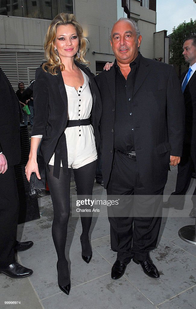 Kate Moss and Phillip Green attend a private dinner at Zuma restaurant hosted by Phillip Green to celebrate opening of TopShop's Knightsbridge store on May 19, 2010 in London, United Kingdom.