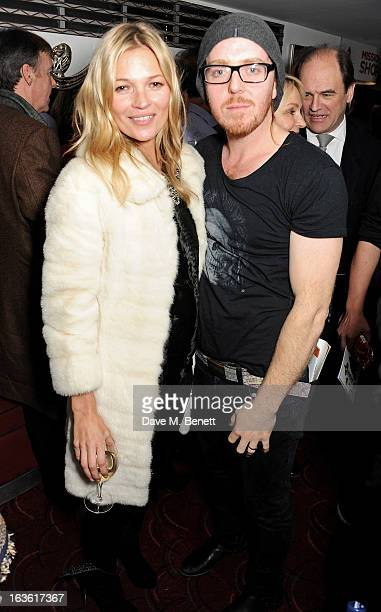 Kate Moss and Tim Minchin attend a gala performance of 'The Book Of Mormon' in aid of Red Nose Day at the Prince Of Wales Theatre on March 13 2013 in...
