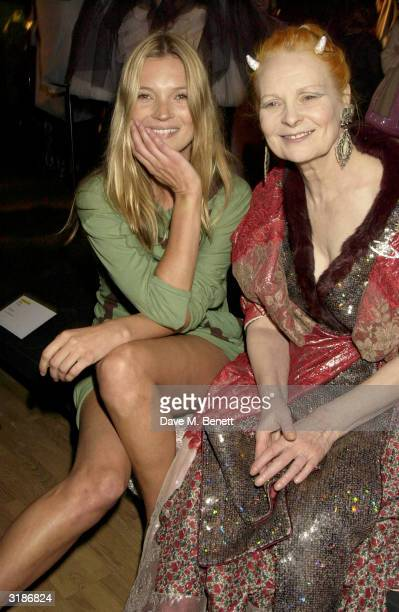 Kate Moss and Vivienne Westwood attend Vivienne Westwood's Private View of her new retrospective show at the VA Museum on March 30 2004 in London The...