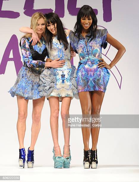 Kate Moss Annabelle Neilson and Naomi Campbell at Naomi Campbell's 'Fashion For Relief' catwalk show at Somerset House