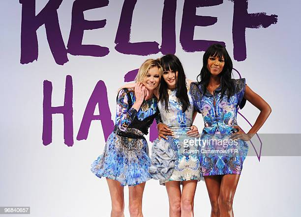 Kate Moss Annabelle Neilson and Naomi Campbell pose on the catwalk at Naomi Campbell's Fashion For Relief Haiti London 2010 Fashion Show at Somerset...