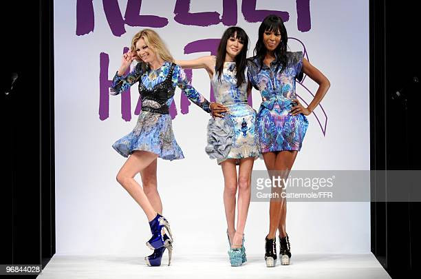 Kate Moss Annabelle Neilson and Naomi Campbell walk down the catwalk at Naomi Campbell's Fashion For Relief Haiti London 2010 Fashion Show at...