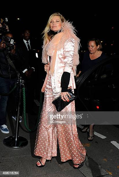 Kate Moss arrives at Annabel's Member's Club on October 28 2014 in London England