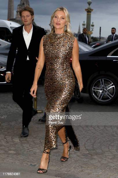 Kate Moss arrives at The Hotel De Crillon on September 23 2019 in Paris France