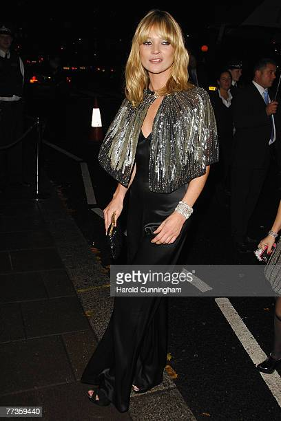 Kate Moss arrives at the launch of Kate Moss's new Top Shop 'Christmas Range' collection at Annabel's October 16, 2007 in London, England.