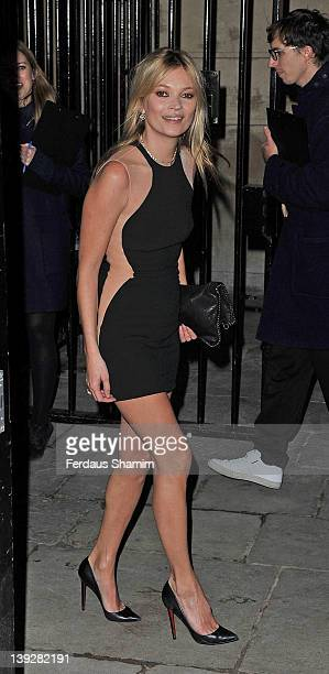 Kate Moss arrives at the Stella McCartney Autumn/Winter 2012 presentation during London Fashion Week at North Audley Street on February 18 2012 in...