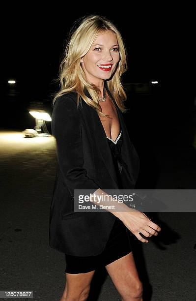 Kate Moss arrives by helicopter to the Rimmel Kate Moss Party to celebrate their 10 year partnership at Battersea Power station on September 15 2011...