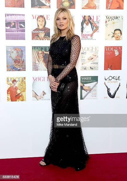 Kate Moss arrives for the Gala to celebrate the Vogue 100 Festival Kensington Gardens on May 23 2016 in London England