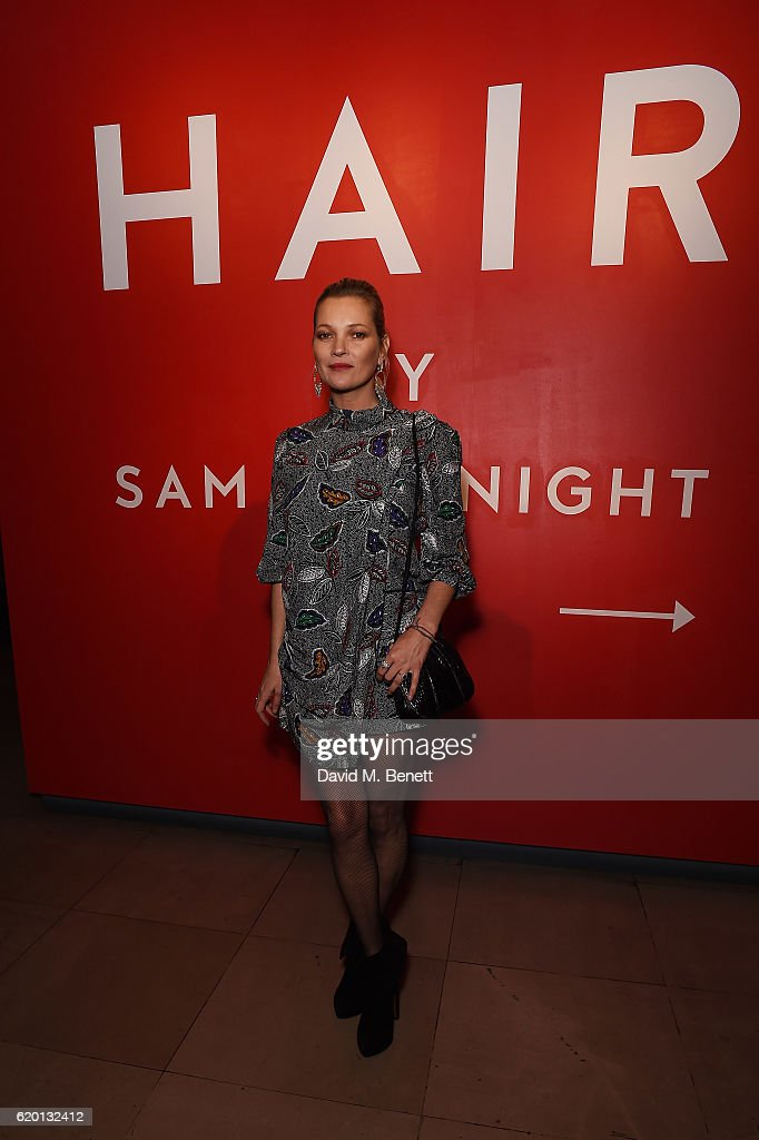 Kate Moss arrives for the opening party of Hair by Sam McKnight, a major new exhibition celebrating the 40-year career of the master hairstylist, at Somerset House on November 1, 2016 in London, England.