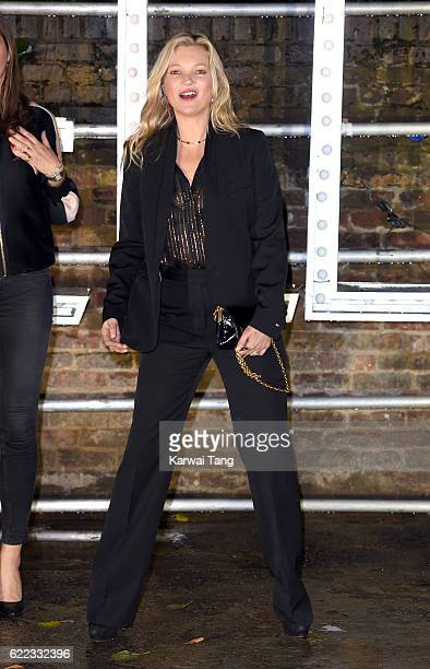 Kate Moss arrives for the Stella McCartney Resort collection and menswear launch at Abbey Road Studios on November 10 2016 in London England