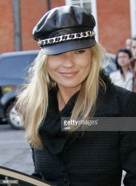 Kate Moss arriving at the Hakan fashion show in west London on February 19 2010 in London England
