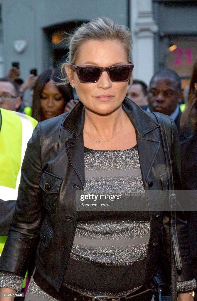 Kate Moss arriving for Burberry show wearing Burberry during London Fashion Week September 2017 on September 16, 2017 in London, England.