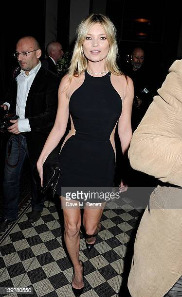 Kate Moss attends a cocktail reception at the Stella McCartney Special Presentation during London Fashion Week Autumn/Winter 2012 a One Mayfair on...