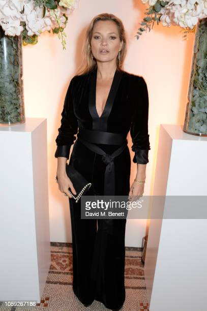Kate Moss attends a party celebrating Edward Enninful's one year anniversary as EditorinChief of British Vogue at The National Portrait Gallery on...