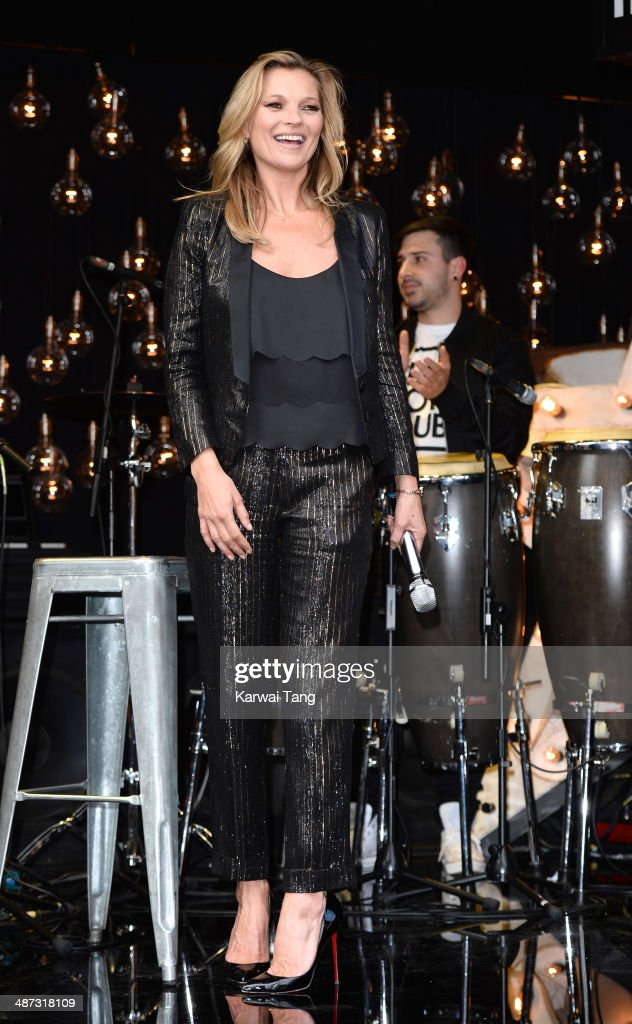 Kate Moss attends a photocall to launch the Kate Moss For TopShop collection held at TopShop, Oxford Street on April 29, 2014 in London, England.