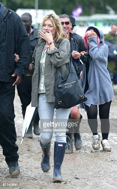 Kate Moss attends Glastonbury Festival 2008 on June 27, 2008 in Glastonbury, England.