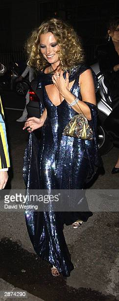 Kate Moss attends her 30th birthday party with a friend at the home of Agent Provocateur owner Serena Rees on January 16 2004 in London The Fran...