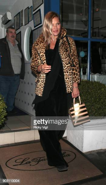 Kate Moss attends Lottie Moss' birthday at La Famiglia restaurant in Chelsea on January 9 2018 in London England