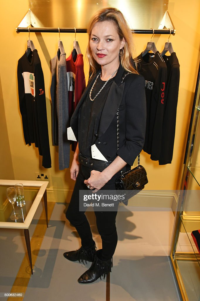 Kate Moss attends the Bella Freud store launch in Marylebone on December 9, 2015 in London, England.
