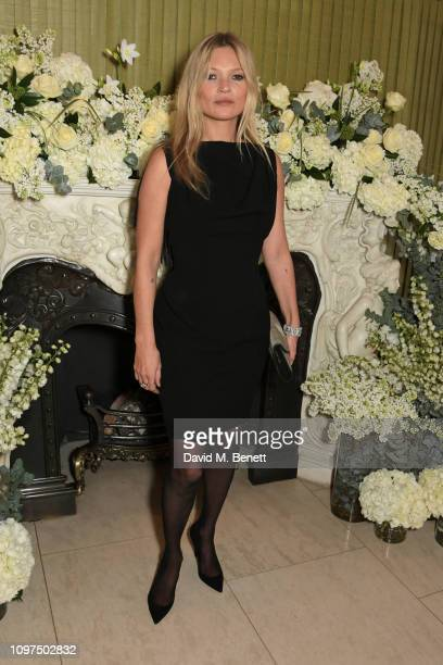 Kate Moss attends the British Vogue and Tiffany Co Celebrate Fashion and Film Party at Annabel's on February 10 2019 in London England