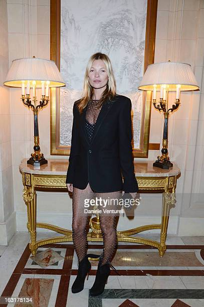 Kate Moss attends the 'CR Fashion Book Issue 2' Carine Roitfeld Cocktail as part of Paris Fashion Week at Hotel ShangriLa on March 5 2013 in Paris...