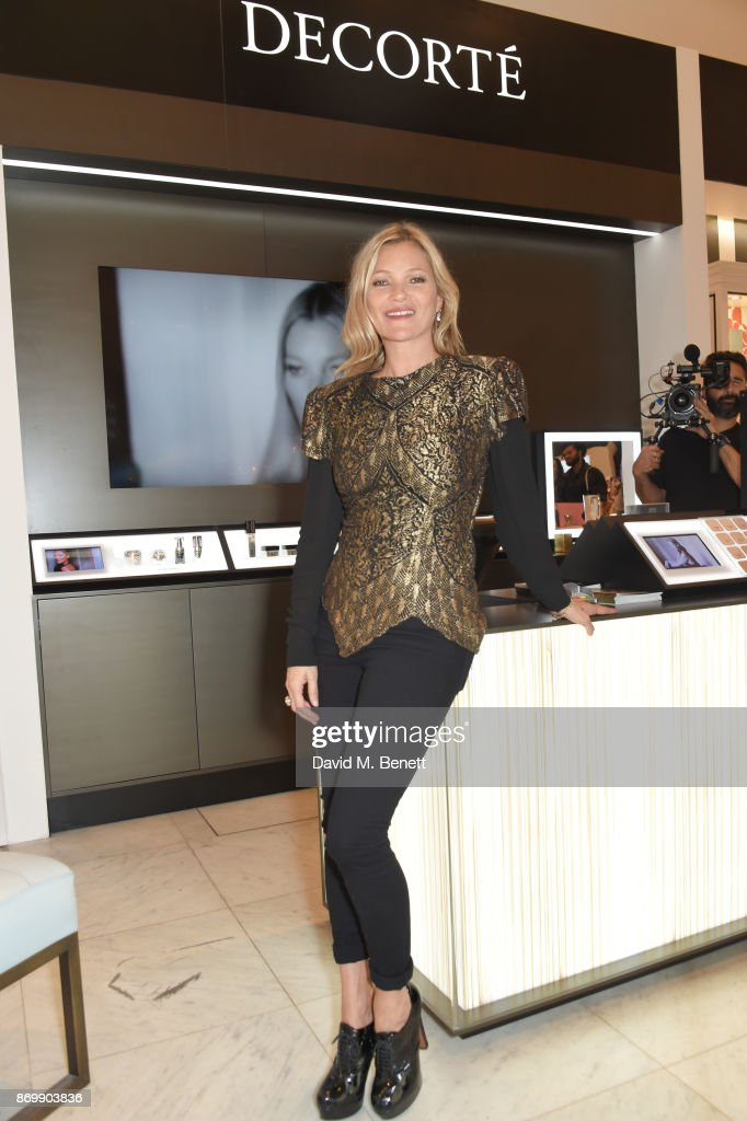 Kate Moss attends the launch of Decorte, the Japanese luxury beauty brand, with brand Ambassador Kate Moss at Selfridges on November 3, 2017 in London, England.
