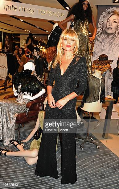 Kate Moss attends the launch of her final seasonal collection at Topshop Oxford Circus on November 1 2010 in London England