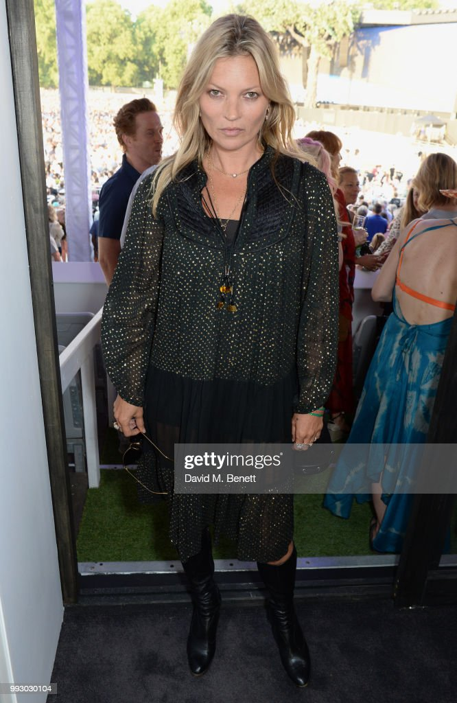 Kate Moss attends the London launch of intothewhite, Darren Strowger's ambitious new tech platform raising money for Teenage Cancer Trust through the auction of contemporary art, curated by Jake Chapman, backstage at British Summer Time Hyde Park on July 6, 2018 in London, England.