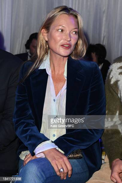 Kate Moss attends the Richard Quinn show during London Fashion Week September 2021 on September 21, 2021 in London, England.