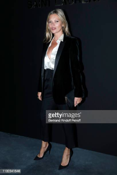 Kate Moss attends the Saint Laurent show as part of the Paris Fashion Week Womenswear Fall/Winter 2019/2020 on February 26 2019 in Paris France