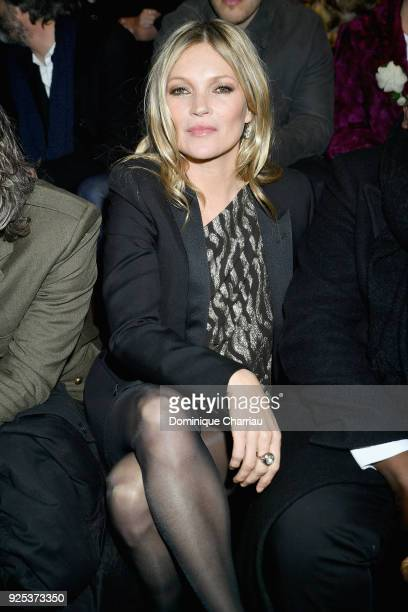 Kate Moss attends the Saint Laurent show as part of the Paris Fashion Week Womenswear Fall/Winter 2018/2019 on February 27 2018 in Paris France