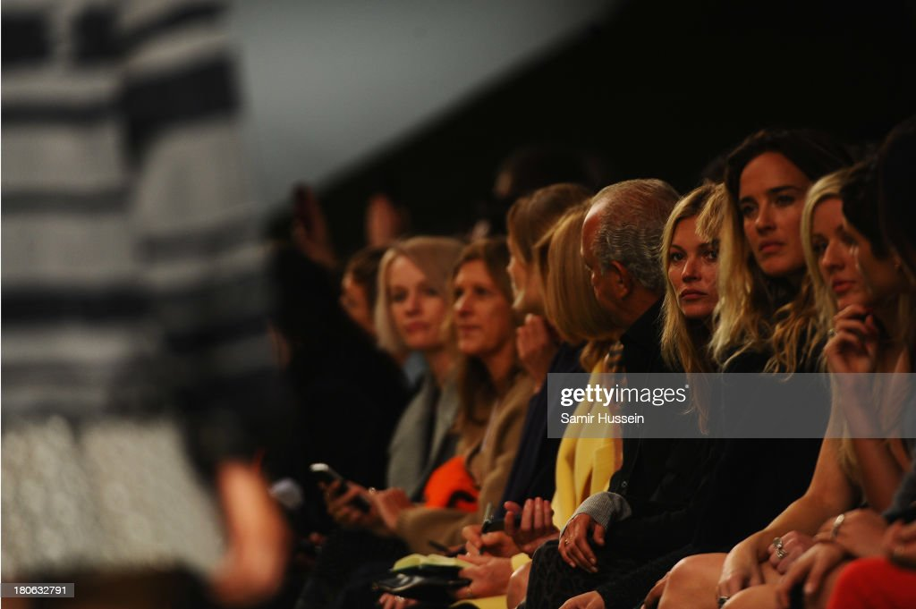 Kate Moss attends the Unique show during London Fashion Week SS14 at TopShop Show Space on September 15, 2013 in London, England.