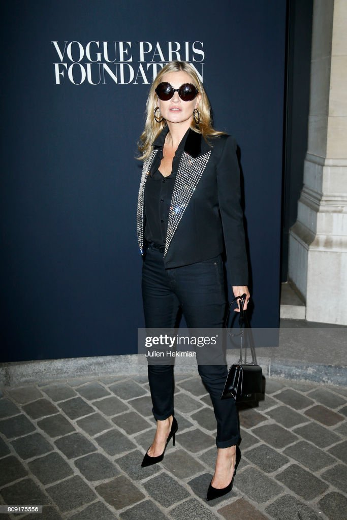 Kate Moss attends the Vogue Foundation Dinner during Paris Fashion Week as part of Haute Couture Fall/Winter 2017-2018 at Musee Galliera on July 4, 2017 in Paris, France.