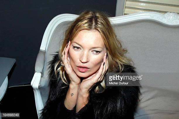 Kate Moss backstage the Christian Dior Ready to Wear Spring/Summer 2011 show during Paris Fashion Week at Espace Ephemere Tuileries on October 1 2010...