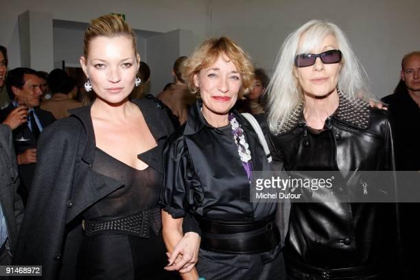 Kate Moss, Betty Catroux and Loulou de la Falaise attend Yves Saint Laurent Pret a Porter show as part of the Paris Womenswear Fashion Week...