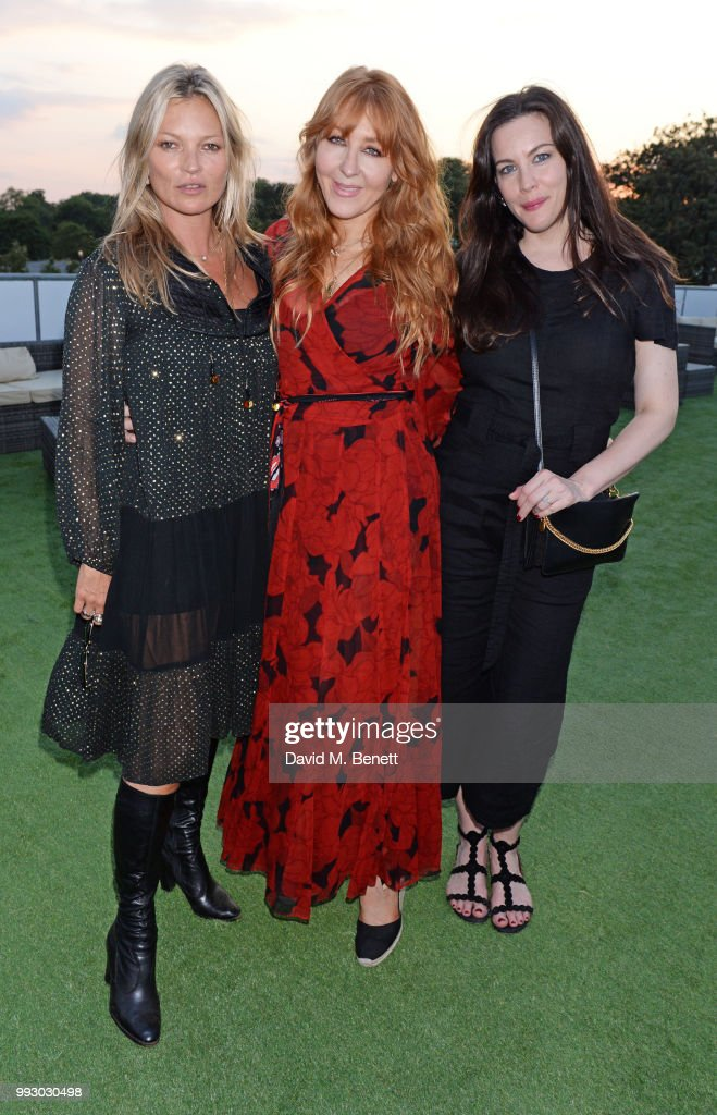 Kate Moss, Charlotte Tilbury and Liv Tyler attend the London launch of intothewhite, Darren Strowger's ambitious new tech platform raising money for Teenage Cancer Trust through the auction of contemporary art, curated by Jake Chapman, backstage at British Summer Time Hyde Park on July 6, 2018 in London, England.
