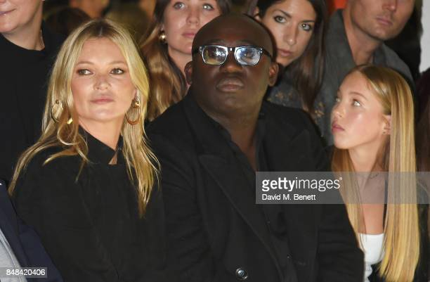 Kate Moss Edward Enninful and Lila Grace Moss Hack attend Topshop's London Fashion Week show on September 17 2017 in London England