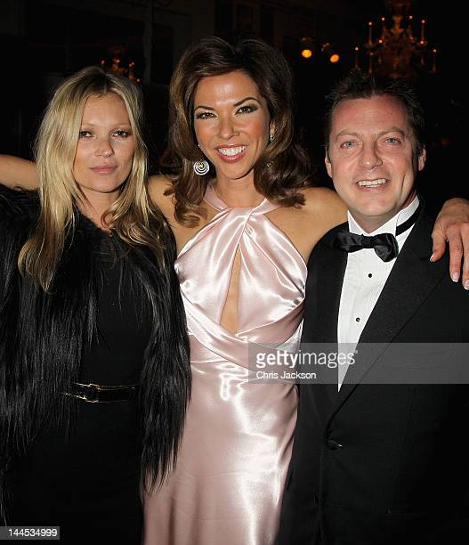 Kate Moss Heather Kerzner and Matthew Freud pose during the Marie Curie Cancer Care Fundraiser hosted by Heather Kerzner at Claridge's Hotel on May...