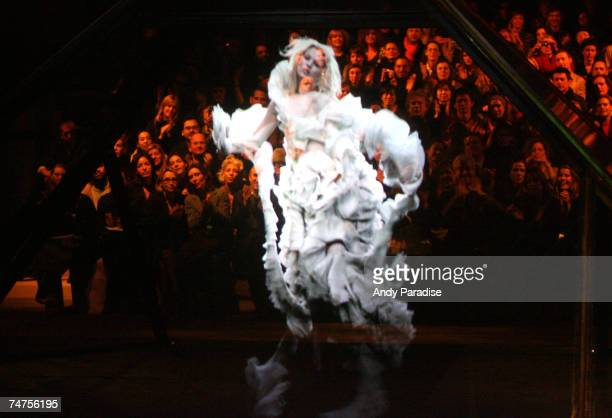 Kate Moss Hologram at Alexander McQueen Autumn/Winter 2006 at the Salle Marcel Cerdan Palais Omnisport de Paris Bercy in Paris France