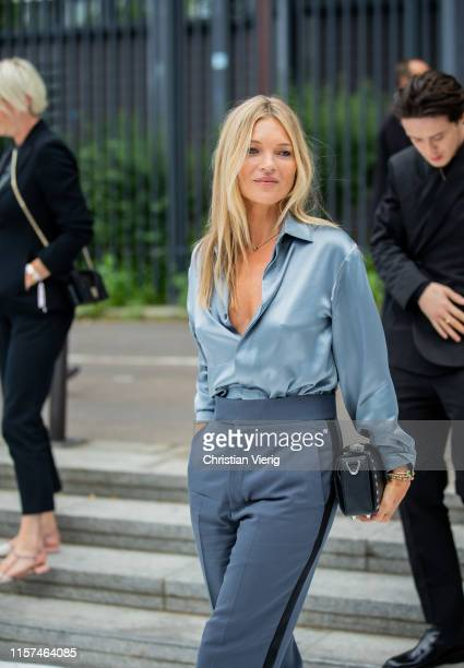Kate Moss is seen at Dior during Paris Fashion Week - Menswear Spring/Summer 2020 on June 21, 2019 in Paris, France.