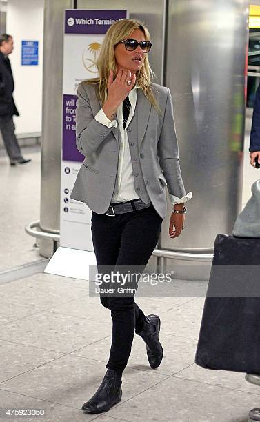 Kate Moss is seen at Heathrow airport on January 11 2011 in London United Kingdom