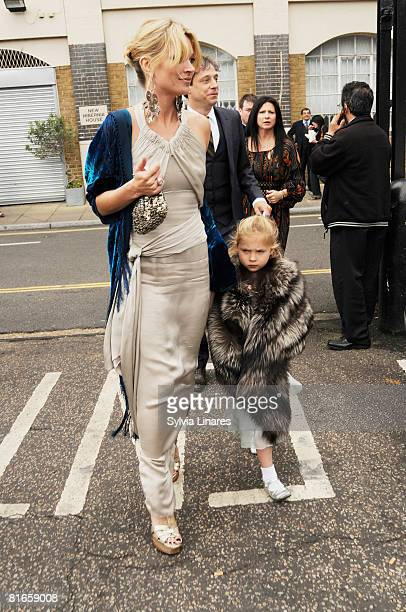 Kate Moss is seen at Leah Wood and Jack MacDonald wedding at Southwark Cathedral on June 21 2008 in London England